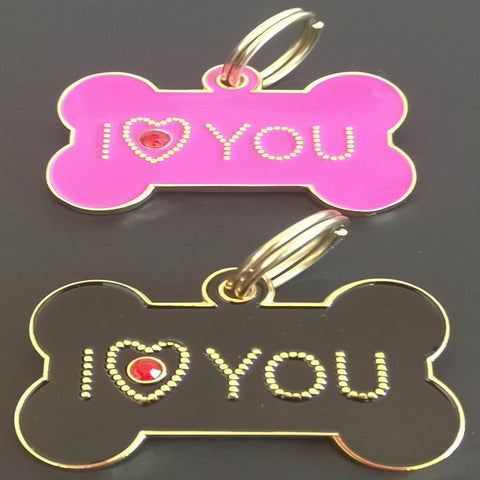 35mm I Love You Crystal Bones-Designer Tags