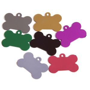 Engraved Pet ID Tags Discs Bone Shaped 32mm Anodised Aliminium