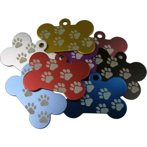 Engraved Pet ID Tags Discs Bone Shaped with Paw Prints 38mm Anodised Aliminium