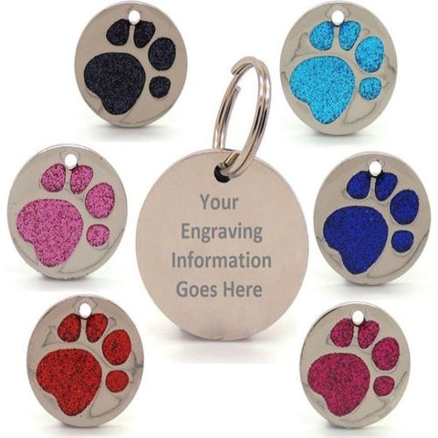 Pet ID Tags Engraved Dog Discs Designer Glitter Paw Insert Round Tag EXTRA LARGE 36mm LARGE