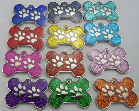 Engraved Pet ID Tags LARGE 34mm Bone Shape with Paw Insert Reflective Glitter Colour Dog Discs