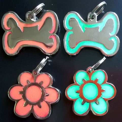 Glow in DarkEngraved Pet ID Tags 34mm Bone Shape with Paw Insert  Colour Dog Discs