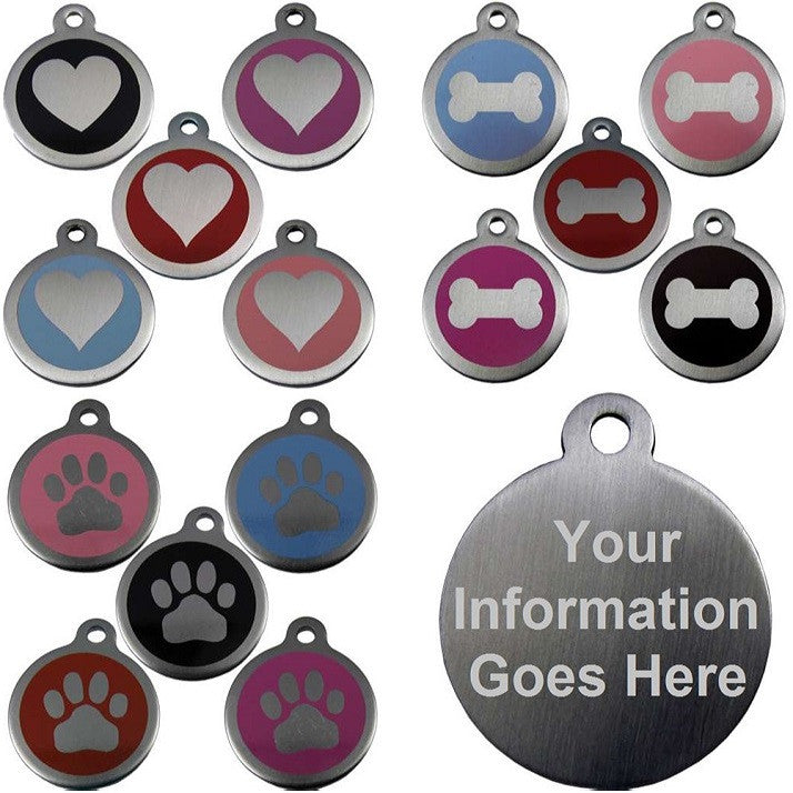 25mm and 32mm round novelty colour enamel pet tags with different