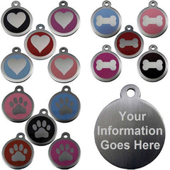 25mm and 32mm Round Novelty Colour Enamel Pet Tags With Different Designs