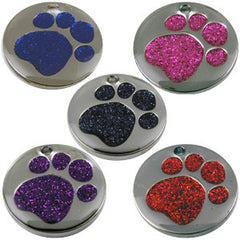 Pet ID Tags Engraved Dog Discs Designer Novelty Glitter Paw Insert With Silver Round Tag 32mm LARGE