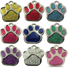 Reflective Glitter Dog Paw Shaped Design 27mm