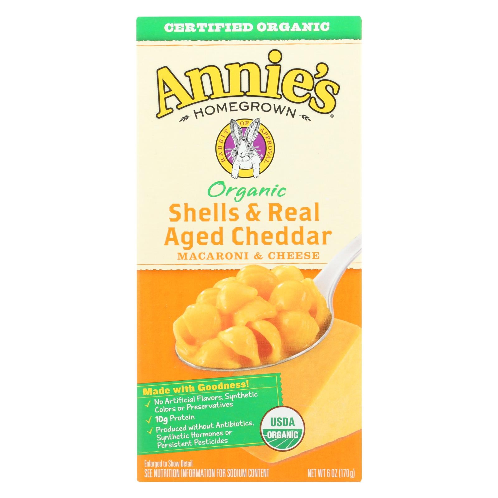Annie's Homegrown Organic Shells And Real Aged Cheddar Macaroni And Cheese - Case Of 12 - 6 Oz. - J. Rose Global