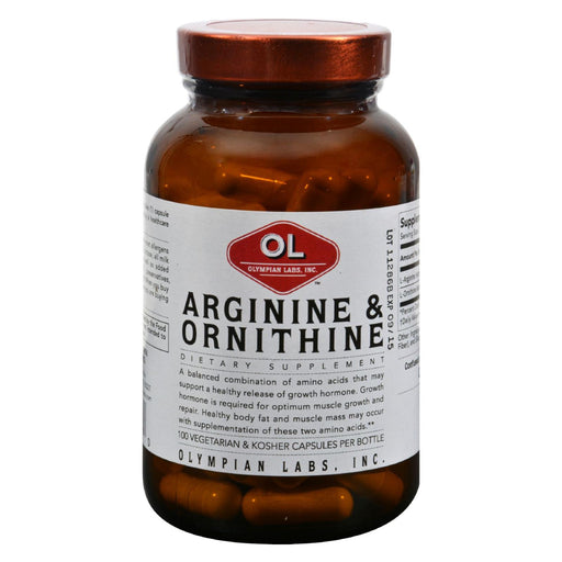 Olympian Labs Arginine And Ornithine - 100 Vegetarian Capsules - J. Rose Global