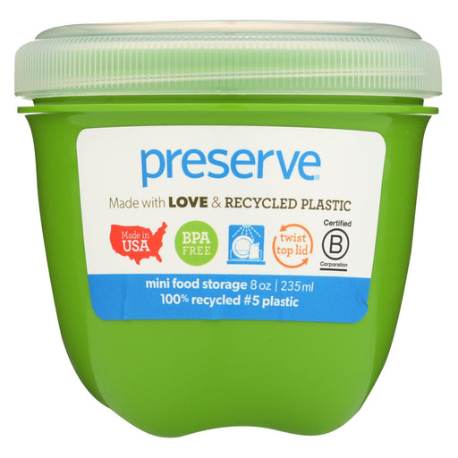 Preserve Mini Food Storage Container - Apple Green - Case Of 12 - 8 Oz - J. Rose Global