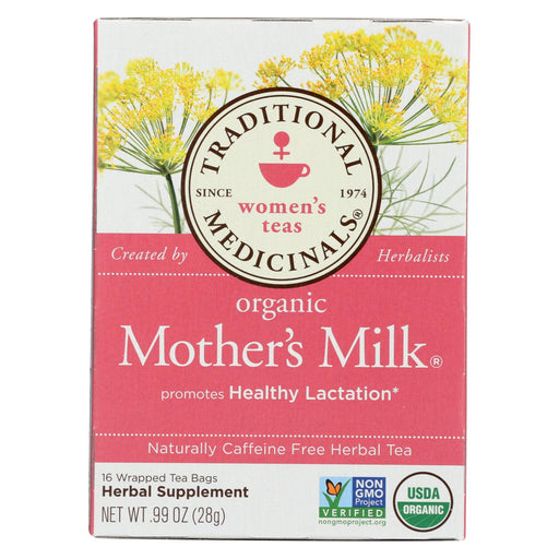 Traditional Medicinals Organic Mother's Milk Herbal Tea - 16 Tea Bags - Case Of 6 - J. Rose Global