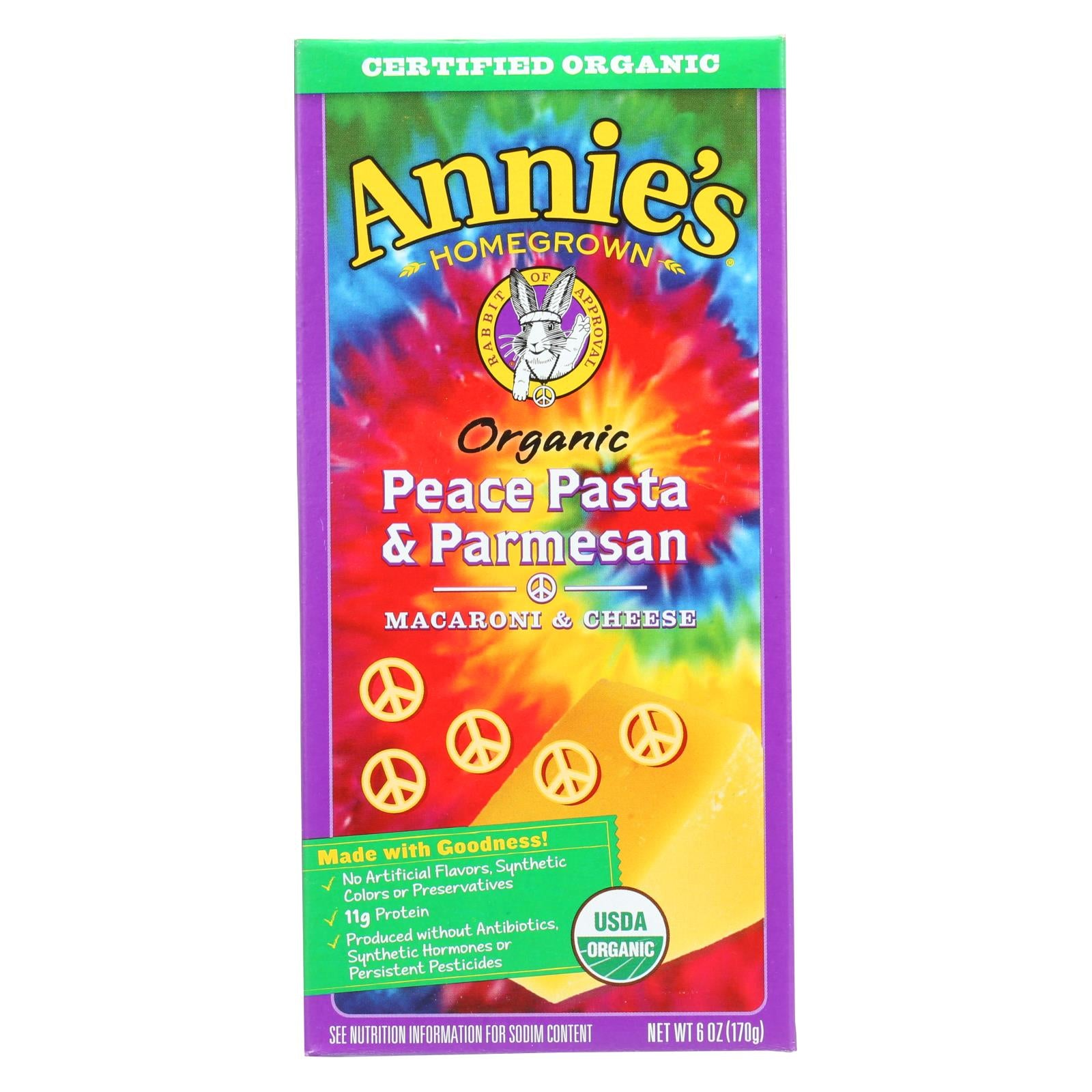 Annies Homegrown Macaroni And Cheese - Organic - Peace Pasta And Parmesan - 6 Oz - Case Of 12 - J. Rose Global