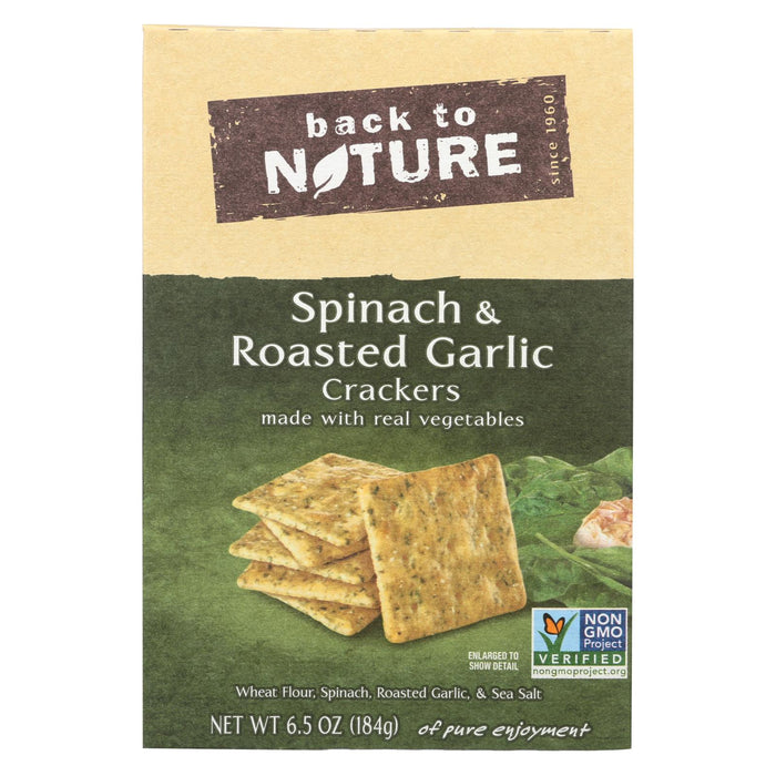 Back To Nature Spinach And Roasted Garlic Crackers - Spinach Roasted Garlic And Sea Salt - Case Of 6 - 6.5 Oz. - Handley Global Group, LLC