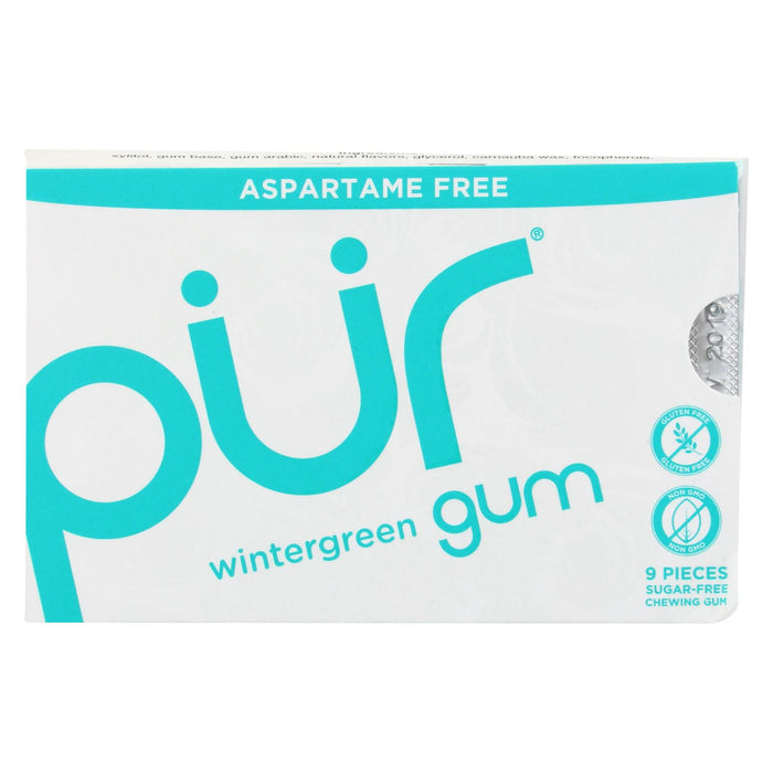 Pur Gum - Wintergreen - Aspartame Free - 9 Pieces - 12.6 G - Case Of 12 - J. Rose Global
