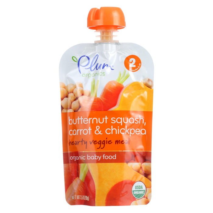 Plum Organics Second Blends Hearty Veggie Meal - Butternut Squash, Carrot And Chickpea - Case Of 6 - 3.5 Oz. - J. Rose Global