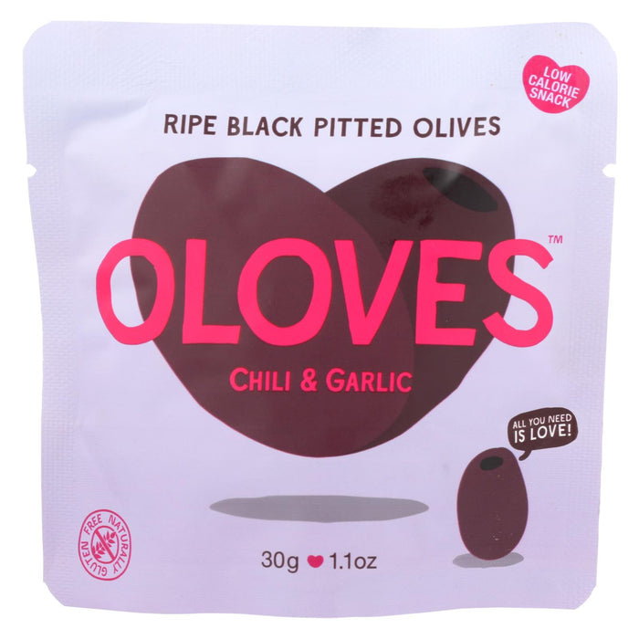 Oloves Green Pitted Olives - Chili And Garlic - Case Of 10 - 1.1 Oz. - J. Rose Global