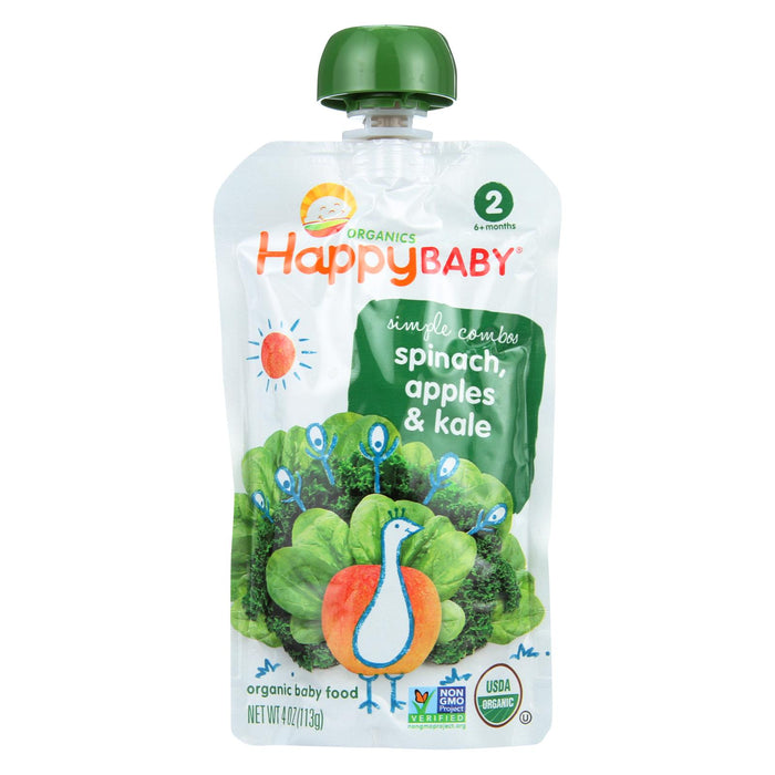 Happy Baby Organic Stage 2 Baby Food - Apple - Spinach & Kale Pouch - Case Of 16 - 3.5 Oz - J. Rose Global