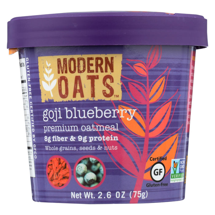 Modern Oats All Natural Oatmeal - Goji Blueberry - Case Of 6 - 2.6 Oz. - J. Rose Global