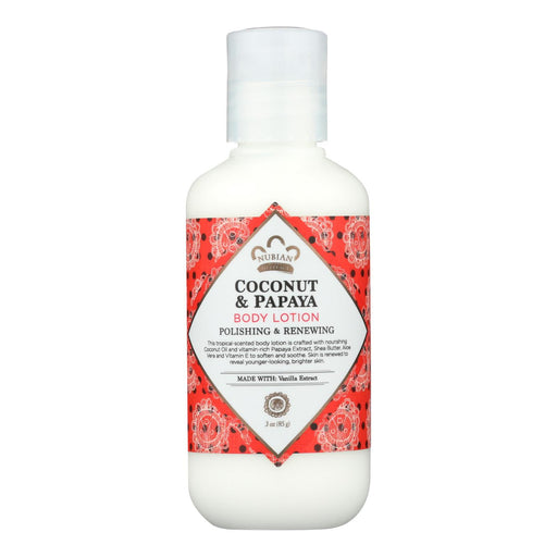 Nubian Heritage Body Lotion - Coconut And Papaya - 3 Fl Oz - 1 Case - J. Rose Global