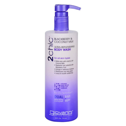 Giovanni Hair Care Products Body Wash - 2chic - Repairing - Ultra-replenishing - Blackberry And Coconut Milk - Value Size - 24 Oz - J. Rose Global