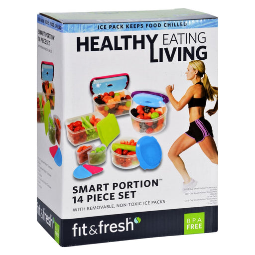 Fit And Fresh Container Set - Healthy Living - Smart Portion - 14 Pieces - 1 Set - J. Rose Global