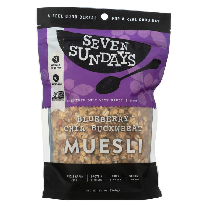 Seven Sundays Muesli - Blueberry Chia Buckwheat - Case Of 6 - 12 Oz. - J. Rose Global