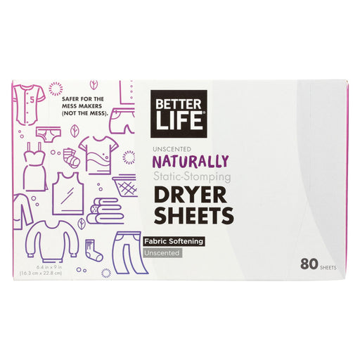 Better Life Dryer Sheets - Unscented - Case Of 6 - 80 Count - Handley Global Group, LLC
