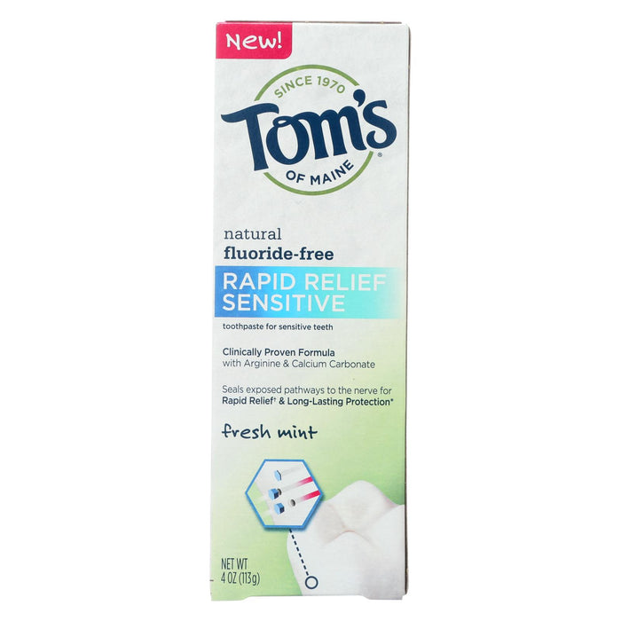 Tom's Of Maine Rapid Relief Sensitive Toothpaste - Fresh Mint, Fluoride-free - Case Of 6 - 4 Oz. - J. Rose Global