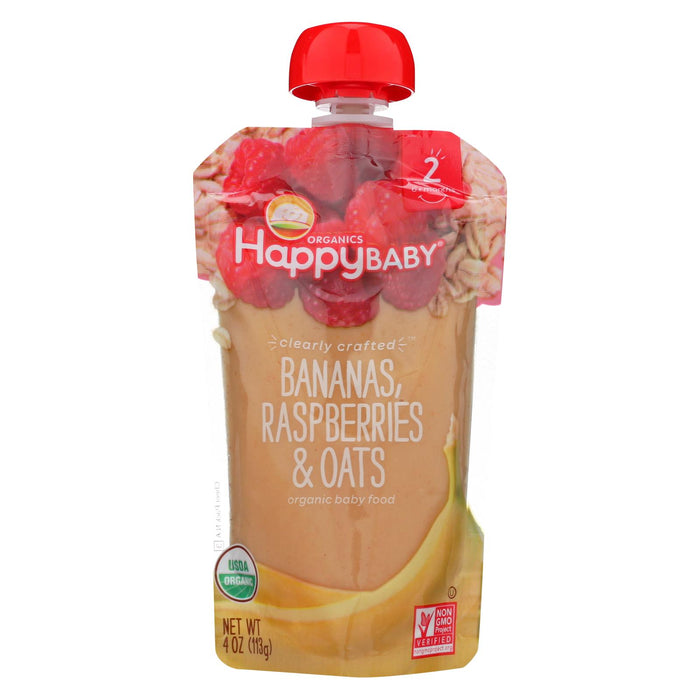 Happy Baby Happy Baby Clearly Crafted - Bananas, Raspberries And Oats - Case Of 16 - 4 Oz. - J. Rose Global