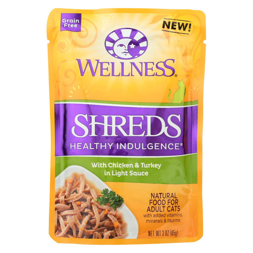Wellness Pet Products Cat Food - Shreds Chicken And Turkey - Case Of 24 - 3 Oz. - J. Rose Global