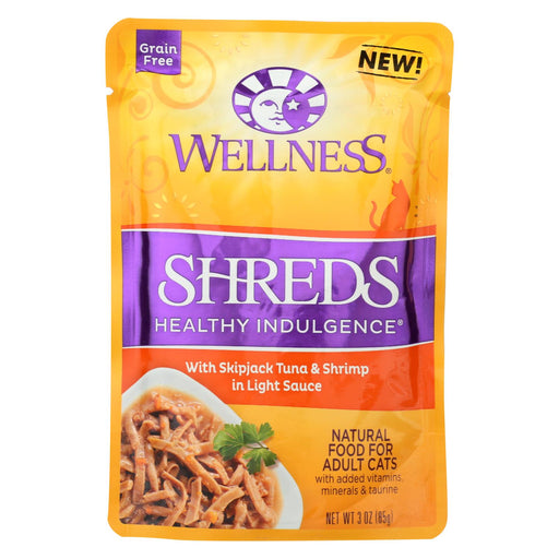 Wellness Pet Products Cat Food - Shreds With Skipjack Tuna And Shrimp In Light Sauce - Case Of 24 - 3 Oz. - J. Rose Global