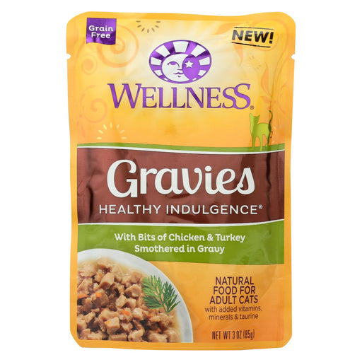 Wellness Pet Products Cat Food - Gravies With Bits Of Chicken And Turkey Smothered In Gravy - Case Of 24 - 3 Oz. - J. Rose Global
