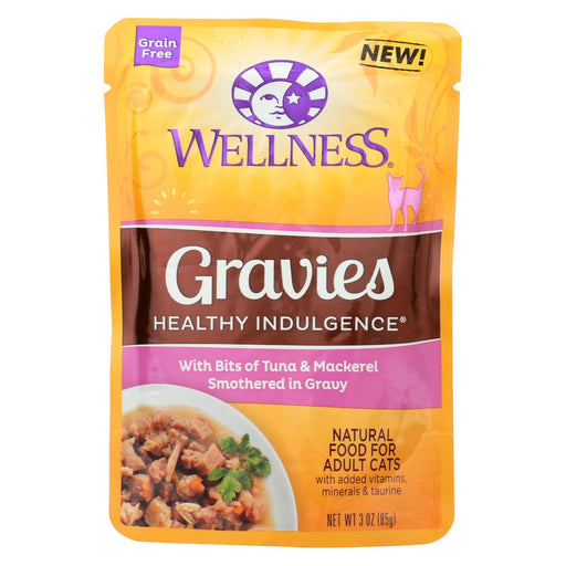 Wellness Pet Products Cat Food - Gravies With Bits Of Tuna And Mackerel Smothered In Gravy - Case Of 24 - 3 Oz. - J. Rose Global