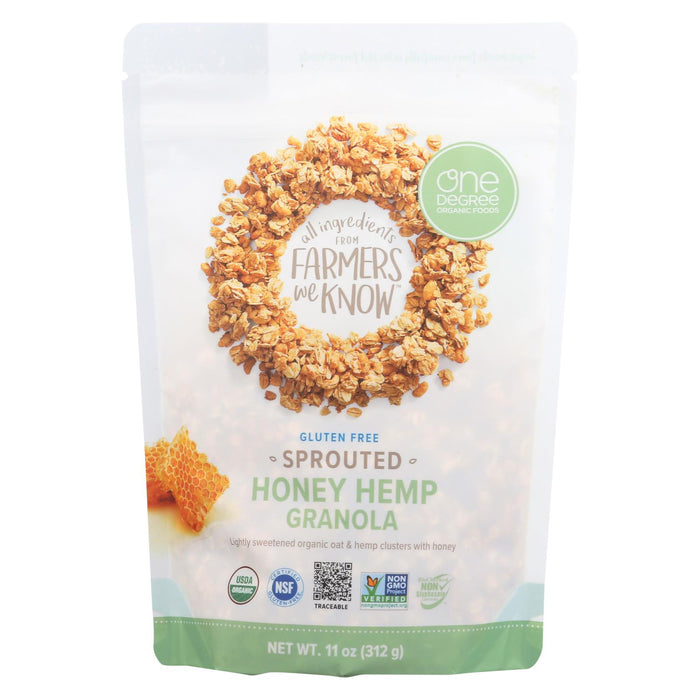 One Degree Organic Foods Sprouted Oat Hemp Granola - Honey - Case Of 6 - 11 Oz. - J. Rose Global