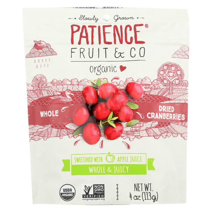 Patience Fruit And Co Whole Cranberries - Dried - Case Of 8 - 4 Oz - J. Rose Global