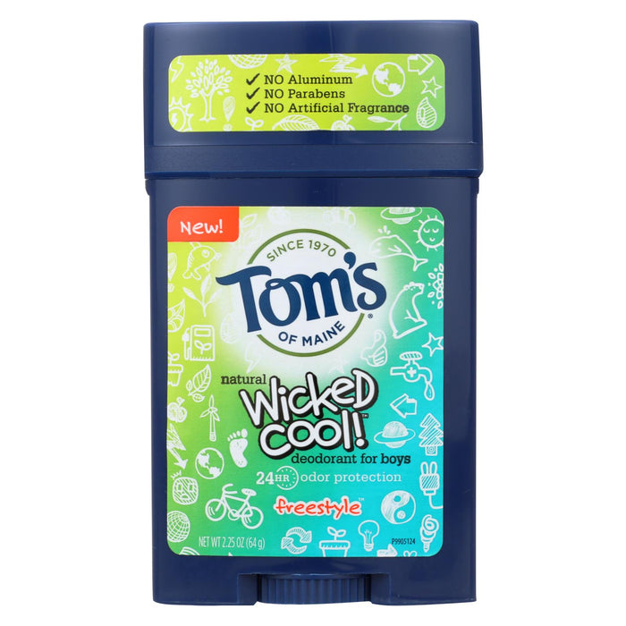 Tom's Of Maine Deodorant Stick - Wicked Cool - Boys - Case Of 6 - 2.25 Oz - J. Rose Global