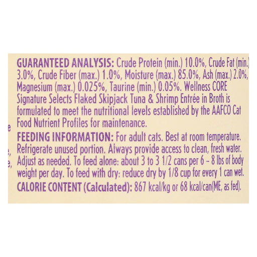 Wellness Pet Products Cat - Can - Tuna - Shrimp - Signature Selects - Case Of 12 - 2.8 Oz - J. Rose Global