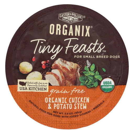 Castor And Pollux Dog - Organic - Tiny Feasts - Chicken - Case Of 12 - 3.5 Oz - J. Rose Global