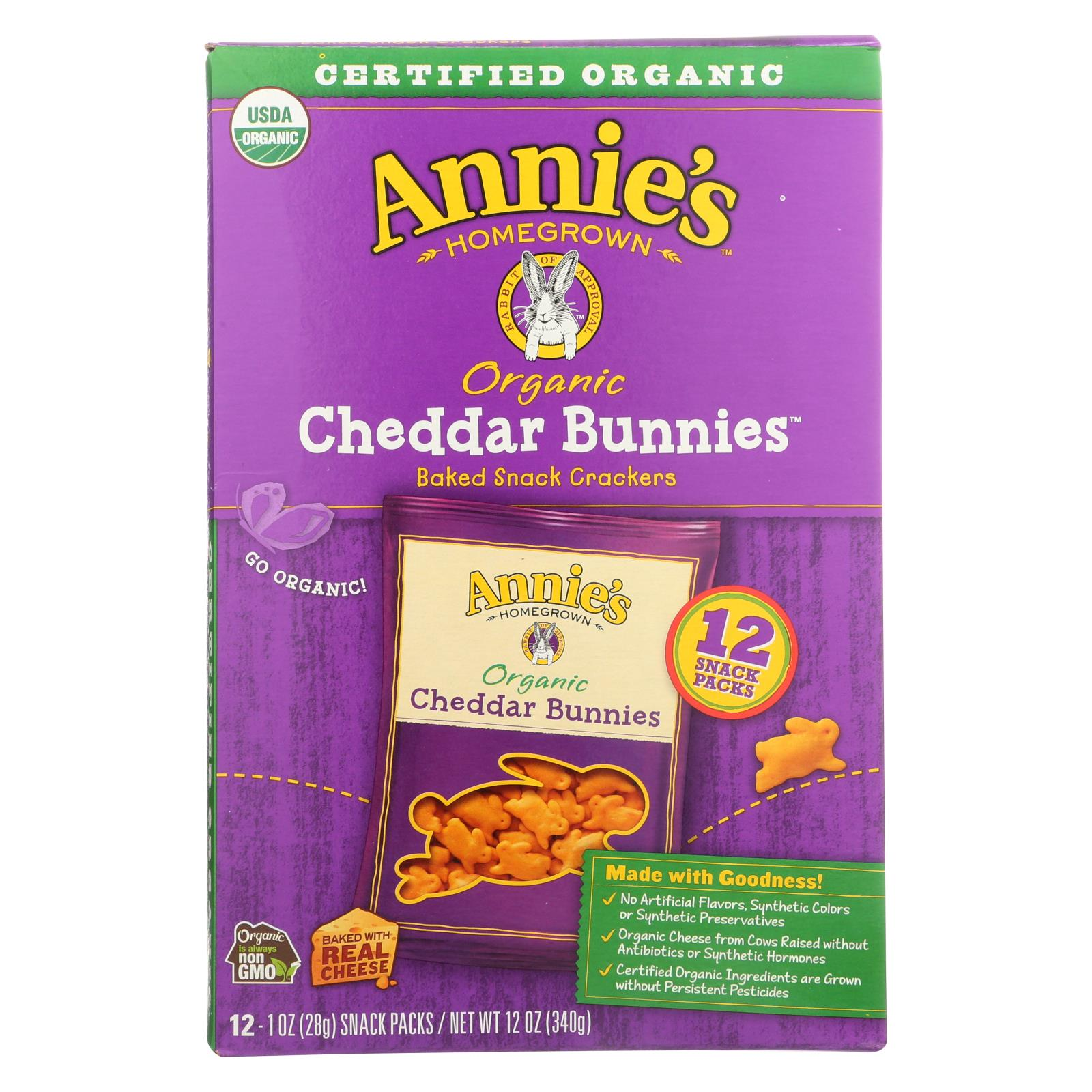 Annie's Homegrown Organic Bunny Cracker Snack Pack - Cheddar - Case Of 4 - 12-1 Oz - J. Rose Global