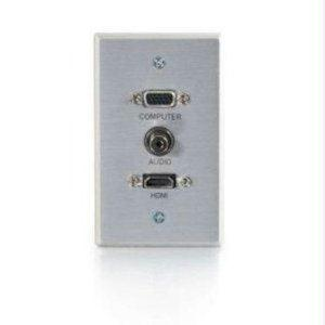 Legrand C2g Hdmi, Vga And 3.5mm Audio Pass Through Wall Plate Single Gang Brushed Alumin - J. Rose Global