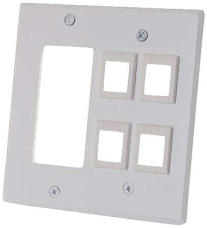 Legrand Decora Compatible Cutout With Four Keystone Double Gang Wall Plate - White - J. Rose Global