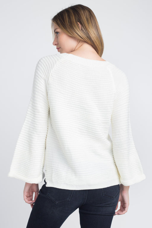 Women's Solid Knit Bell Sleeve Sweater - J. Rose Global