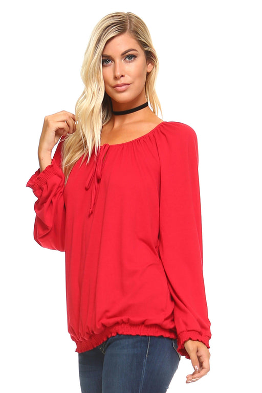 Women's Long Sleeve Solid Peasant Top - J. Rose Global