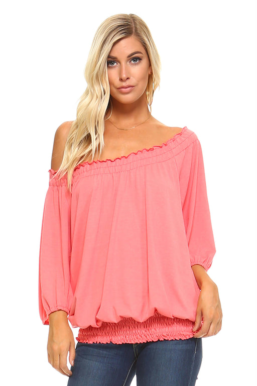 Women's 3/4 Three Quarter Sleeve Peasant Top with Elastic Neckline - J. Rose Global