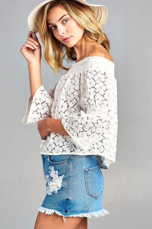 Women's 3/4 Three Quarter Long Sleeve Off Shoulder Floral Lace Top - J. Rose Global