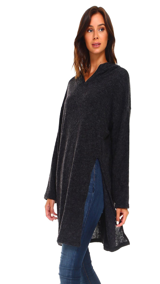 Women's Long Hooded Slit Sweater - J. Rose Global