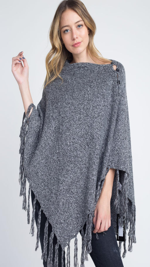Women's V-Shaped Fringe Poncho with Buttons - J. Rose Global