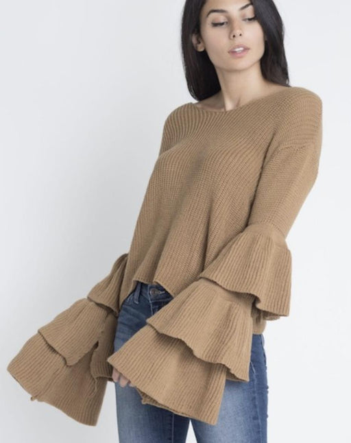 Women's Layered Bell Sleeve Sweater - J. Rose Global