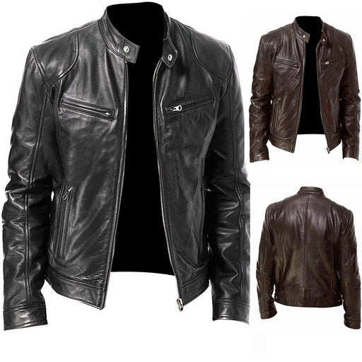 PU Leather Jacket Men Black Brown Winter Autumn Fashion Mens Street Style Stand Collar Motorcycle Bomber Mens Leather Coat - J. Rose Global