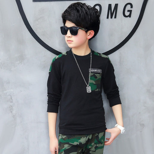 Boy Tracksuit Clothes set Kids Spring&Autumn Cotton School Uniform Sport camouflage Suit Boys Clothing Sets 4 6 8 10 12 14 year - J. Rose Global