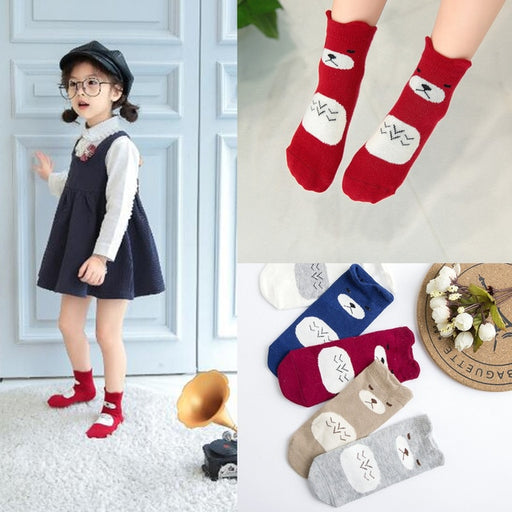 5 Pairs Baby Boy Socks Children Autumn Winter Cartoon Socks for Girls Kids for Girls To School Sport Baby Girl Clothes Striped - J. Rose Global